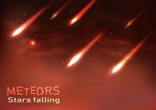 Étoiles filantes de météores tirant les étincelles brûlantes de flamme d'astronomie illustration stock