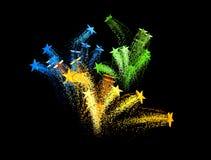 Étoiles filantes, feux d'artifice Images libres de droits