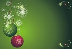 Étoiles, flocons de neige et billes. Carte de Noël Image stock