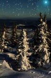 Étoiles impeccables de neige de nuit de montagnes Image stock
