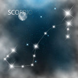 Étoiles lumineuses de signe de constellation en cosmos illustration libre de droits