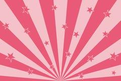 Étoiles roses avec les lignes abstraites fond de rayons radiaux illustration stock