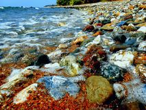 Étonnant, les pierres mystiques l'été sauvage échouent photo stock