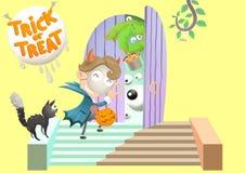 Étonnez frapper la porte de voisinage pour le des bonbons ou un sort au jour de Halloween illustration libre de droits