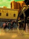 Étranger arrivant à la ville fantôme illustration stock