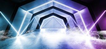Étranger concret réfléchi grunge sombre rougeoyant bleu de couloir de couloir de tunnel de lampes au néon de laser de Sci fi de f illustration de vecteur