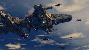Étranger d'UFO de vaisseau spatial Photos libres de droits