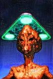 Étranger d'UFO peint photo stock