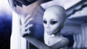 Étranger dans la chambre futuriste main atteignant avec la planète de la terre Concept futuriste d'UFO rendu 3d illustration libre de droits