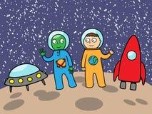 Étranger et astronaute dans l'espace sur la lune Photo stock