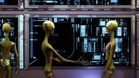 Étrangers près du tableau de bord du vaisseau spatial Concept réaliste superbe rendu 3d illustration de vecteur