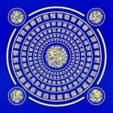 Étrangers secrets de police Symboles mystérieux d'un plat bleu Photo stock