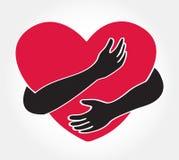 Étreignez le coeur, symbole de l'amour vous-même illustration stock