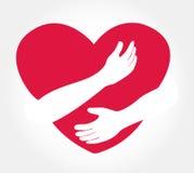 Étreignez le coeur, symbole de l'amour vous-même Images libres de droits