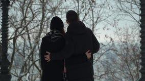 Étreindre de marche de jeunes couples en parc d'hiver couvert de neige Loisirs d'hiver des couples affectueux heureux Date de jeu clips vidéos