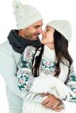 Étreindre de sourire de nez-à-nez de couples Images libres de droits