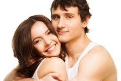 Étreindre heureux de couples Photographie stock libre de droits