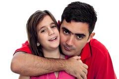 Étreindre latin de père et de descendant Photographie stock libre de droits