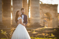 Étreindre romantique sensuel de jeunes mariés de nouveaux mariés Photos stock