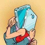 Étreindre virtuel d'homme et de femme de date Couples affectueux illustration de vecteur