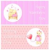 Étreinte d'ours heureuse d'affiche de valentines Teddy Balloon Image libre de droits