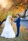Étreinte de jeunes mariés sur une promenade dans la campagne pour une promenade photo stock