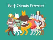 Étreintes animales d'amitié d'amis de groupe d'animaux familiers de chats et de chiens Image libre de droits