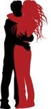 Étreintes et silhouette de baiser. Photographie stock libre de droits