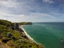 Étretat beach. In Normandie region in north-western France Royalty Free Stock Photo