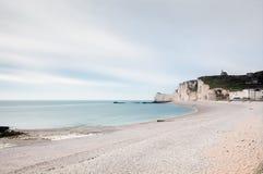 Étretat Beach, Normandy, France. Long Exposure of Etratat Beach on a cloudy day. Normandy, France Stock Image