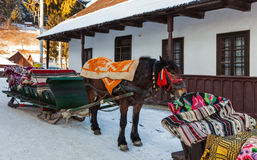 Étrier roumain traditionnel avec le cheval images stock