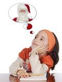 Étude de penser à Santa Image libre de droits
