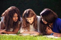 Étude de trois amis d'université Photographie stock libre de droits