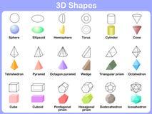 Étude des formes 3D pour des enfants illustration de vecteur