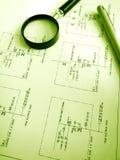 Étude des plans de circuits électriques image libre de droits