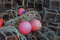 Étude des pots et de la corde de homard Image libre de droits