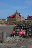 Étude des pots et de la corde de homard Photos stock