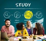 Étude du concept de sagesse d'analyse de la connaissance d'éducation d'étude Image stock