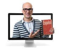 Étude du concept en ligne espagnol Photos stock