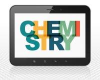 Étude du concept : Ordinateur de PC de Tablette avec la chimie sur l'affichage Photos stock