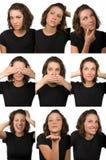 étude femelle faciale d'expressions de caractère Image libre de droits