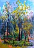 Étude unique de lumière de peinture des marqueurs d'aquarelle de forêt de ressort illustration de vecteur
