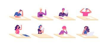 Étudiant aux bureaux Adolescents s'asseyants d'élève de bureau de jeune fille de garçon à l'examen d'université d'essai d'école d illustration stock