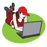 Étudiant avec l'ordinateur portatif Photos libres de droits