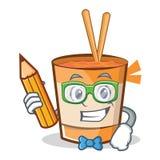 Étudiant avec la bande dessinée de caractère de nouilles de tasse de crayon illustration de vecteur