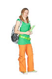 Étudiant avec le sac à dos et le cahier. Image stock