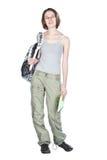 Étudiant avec le sac à dos et le cahier. Images stock