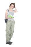 Étudiant avec le sac à dos et le cahier. Image libre de droits
