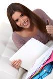 Étudiant avec un ordinateur portatif Photographie stock