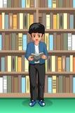 Étudiant Boy Reading dans l'illustration de bibliothèque illustration de vecteur